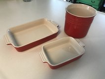 Le Creuset stoneware enamel pans and crock in Moody AFB, Georgia