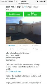 House for rent. 3bd 2 ba in Barstow, California