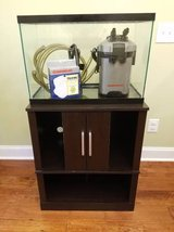 29 gallon fish tank with canister filter and stand in Byron, Georgia