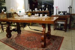 gorgeous solid tiger oak dining room table with hand wrought iron decoration in Ramstein, Germany