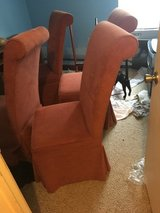 4 red custom upholstered dining chairs in Little Rock, Arkansas