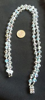 Vintage crystal necklace Czech Aurora borealis double strand in Ramstein, Germany