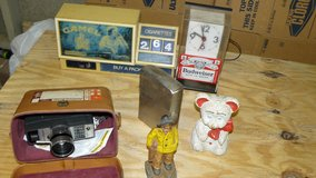 Misc lot of collectibles. Clocks, cast iron figures, more. in Camp Lejeune, North Carolina