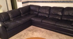 Large leather corner sofa with fold-out bed in Lawton, Oklahoma