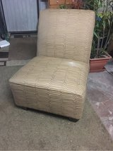 Pier 1 brown/beige upholstery lounge chair/ottoman in Ramstein, Germany