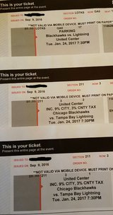 2 Blackhawk Tickets - Tuesday's game Excellent Seats in Chicago, Illinois