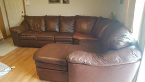 3 piece brown leather sectional sofa/couch in Lockport, Illinois