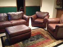 Leather Couch, Chairs, Ottoman in Chicago, Illinois