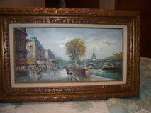 OIL PAINTING PARIS/CARVED WOOD FRAME STAMPED ITALIA LARGE in Lockport, Illinois