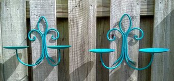 Set of 2 Tidal Blue Metal Double Candle Holders in Wilmington, North Carolina