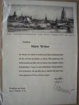1940 Birthday Certificate from the Office of the Mayor, Frankurt in Ramstein, Germany