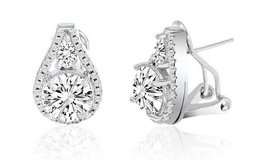 ***TODAY ONLY***BRAND NEW***Omega French Clip Tear Drop Halo Stud Earrings*** in Houston, Texas