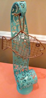 Tall Decorative Metal Stand with Hanging Metal Fish in Wilmington, North Carolina
