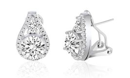 **BRAND NEW***Omega French Clip Tear Drop Halo Stud Earrings*** in Houston, Texas
