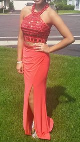 Red Sherri Hill two-piece Prom dress in Kankakee, Illinois