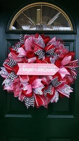 Single & Awesome Mesh Valentine's Day Wreath in Lockport, Illinois