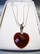 Sterling Faceted Red Carnelian Heart Necklace in Camp Lejeune, North Carolina