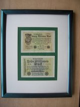 1923 German Reichbanknotes, two of them, framed in Mannheim, GE
