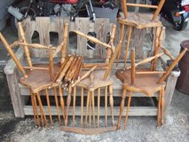 4 old maple broken kitchen chairs/have peices in Camp Lejeune, North Carolina