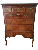 Antique 18th Century George II Burlwood Highboy in Chicago, Illinois