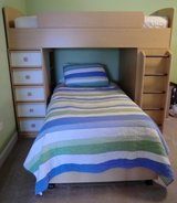 Twin Loft Bunk Bed with Desk Chair Shelves Drawers Colored Panels Dresser Bedroom Set in Joliet, Illinois