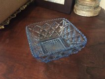 Vintage blue glass candy bowl dish in 29 Palms, California