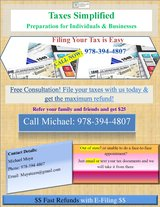 Tax Preparation Consultation/Double Checking--Business and Individuals in Fairfield, California