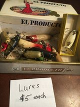 Box of fishing old lures in Lockport, Illinois