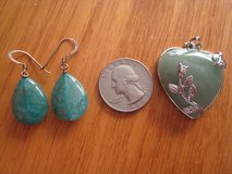 Jade Pendant AND Dyed Aventuring Pierced Earrings in Lockport, Illinois