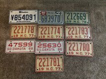 Vintage motorcycle license plates in 29 Palms, California
