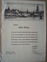 1940 Birthday Letter, from the Mayor's office in Frankfurt in Ramstein, Germany