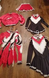 Cheerleader Costumes - Red, Black and White with Silver Sequins in Glendale Heights, Illinois