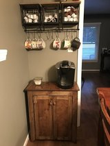 Wood farm style coffee bar liquor cabinet kitchen console in Charleston, South Carolina