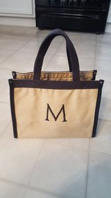 M personalized tote khaki and brown bag purse in Naperville, Illinois
