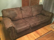 Full size faux leather sofa, smoke free home in Joliet, Illinois