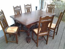 antique oak dining table with 6 chairs in Ramstein, Germany