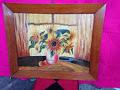 """Oil Painting """"Sunflowers"""" in Wooden Frame in Ramstein, Germany"""
