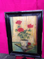"""Oil Painting """"Geraniums"""" in old (black) Shellac Frame in Ramstein, Germany"""