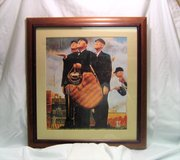 Norman Rockwell Baseball Umpires Rain Delay Pitcher Catcher Batter 17 x 18 Wood Frame in Houston, Texas