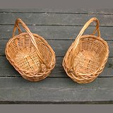 2 OVAL WICKER BASKETS W/TWISTED HANDLES in Naperville, Illinois