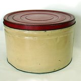 LG ROUND STORAGE TIN, VTG CREAM RED LID in Westmont, Illinois