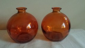2 Vases- home goods, pair of amber red globe vases in Elgin, Illinois