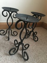 Set of 3 Black Candle Holders in Morris, Illinois