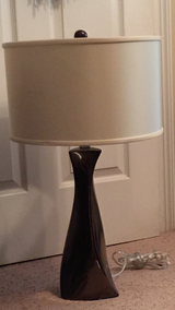 Brown and white drum table lamp in Columbus, Georgia