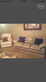 Leather couch set with recliner in Hemet, California