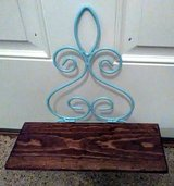 Light Blue Metal & Mahogany Stained Solid Wood Hanging Shelf in Wilmington, North Carolina