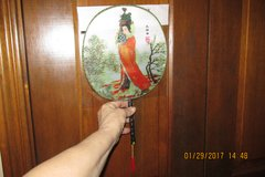Asian-Themed Ladies Fan w/Wooden Handle & Tassle in Kingwood, Texas