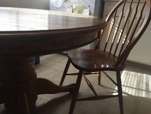 Antique oak dining kitchen table w beaded skirt and claw feet 1 leaf in Fairfield, California