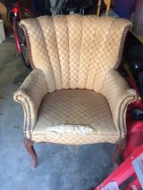 Antique chair that needs to be reupholstered in Houston, Texas