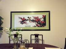 Huge framed Japanese Cherry blossom hand made stiched wall art decor in Okinawa, Japan